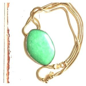 Stella and dot green serenity stone gold necklace